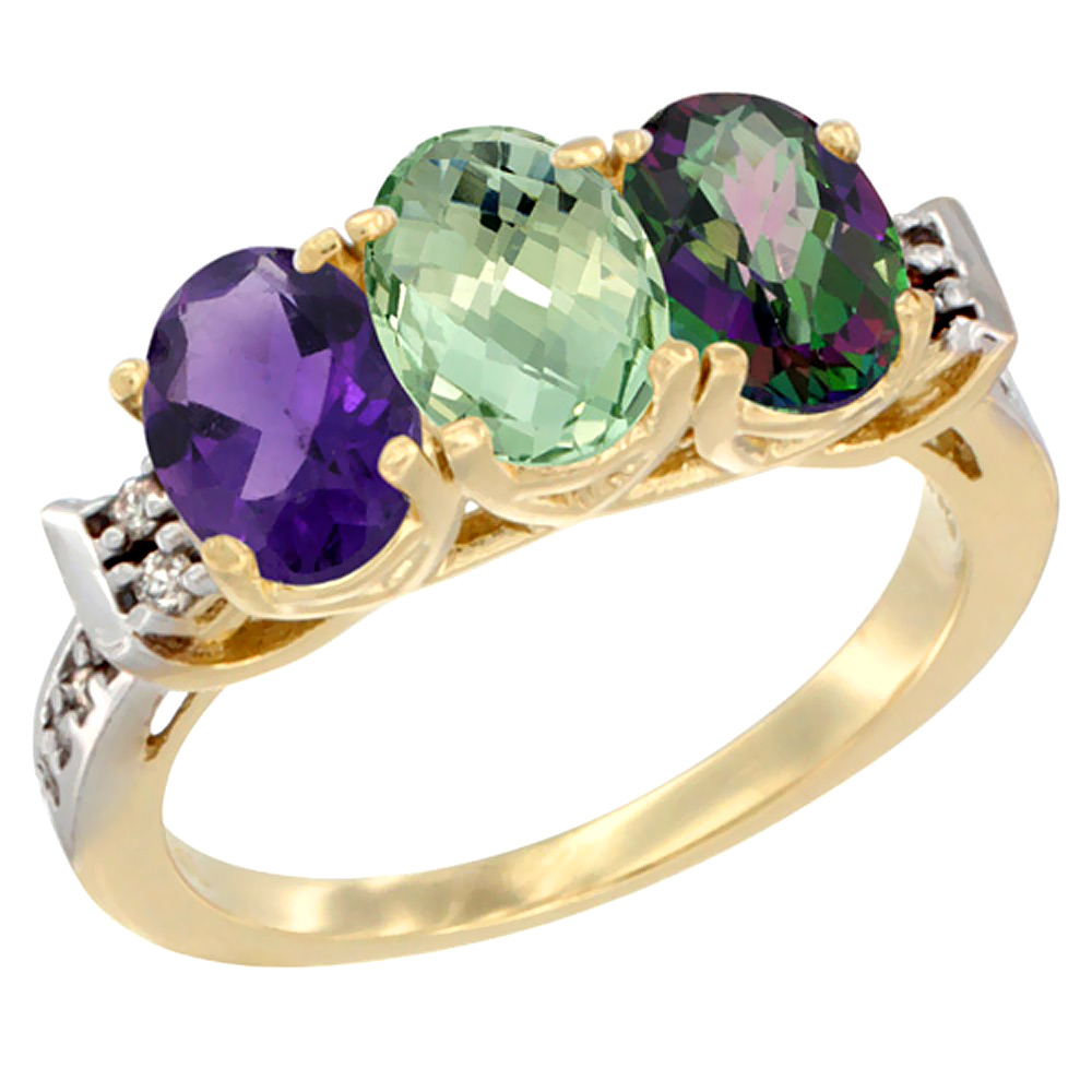 10K Yellow Gold Natural Amethyst, Green Amethyst & Mystic Topaz Ring 3-Stone Oval 7x5 mm Diamond Accent, sizes 5 - 10