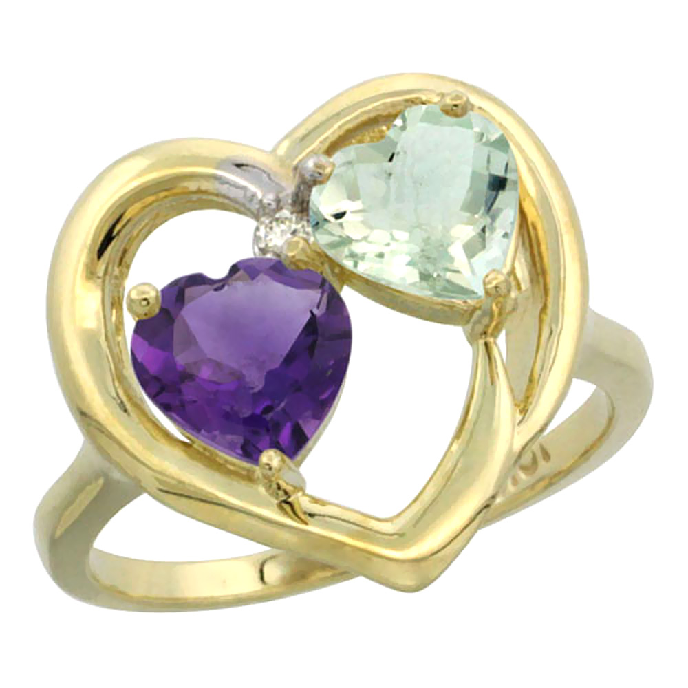 14K Yellow Gold Diamond Two-stone Heart Ring 6mm Natural Amethyst & Green Amethyst, sizes 5-10