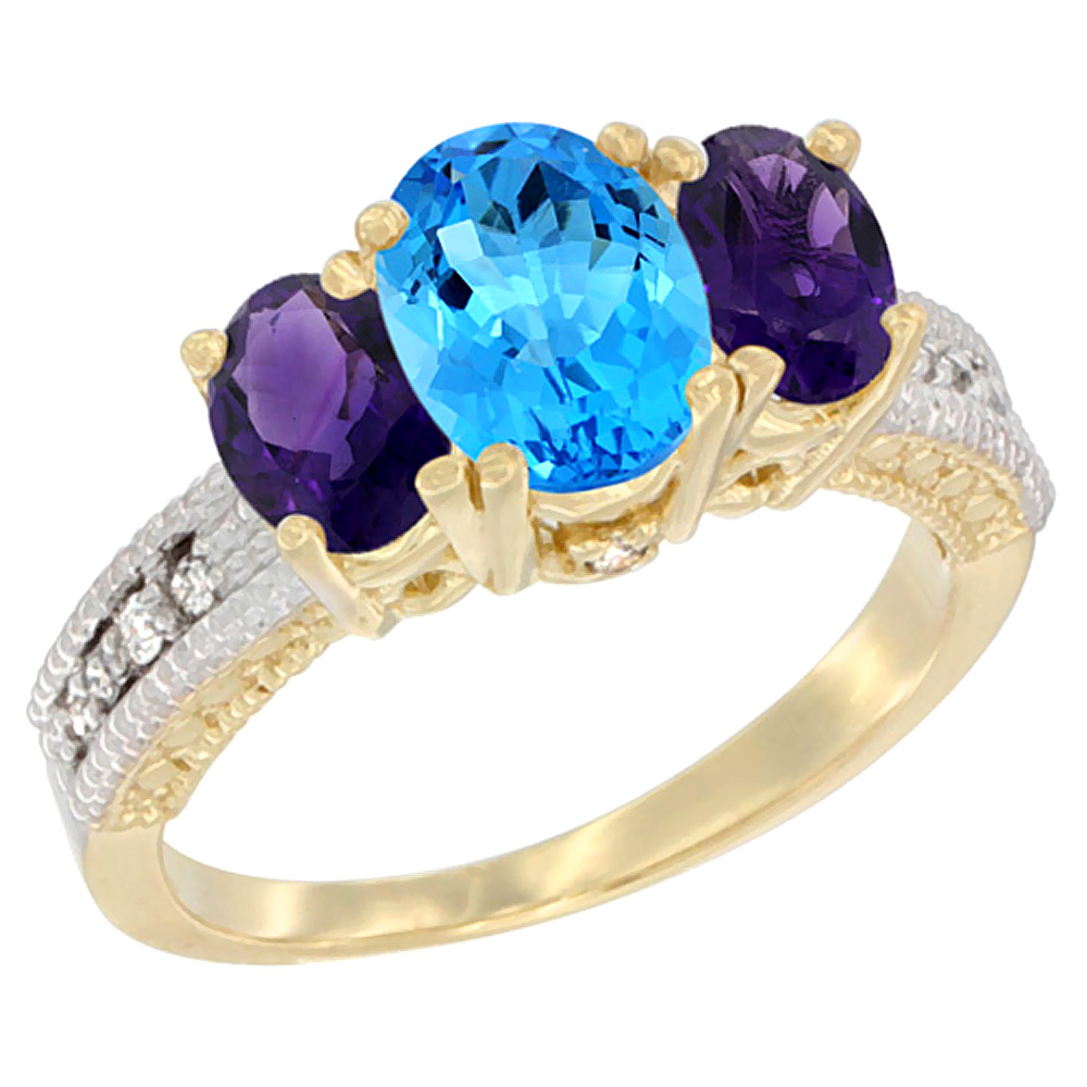 10K Yellow Gold Ladies Oval Natural Swiss Blue Topaz Ring 3-stone with Amethyst Sides Diamond Accent