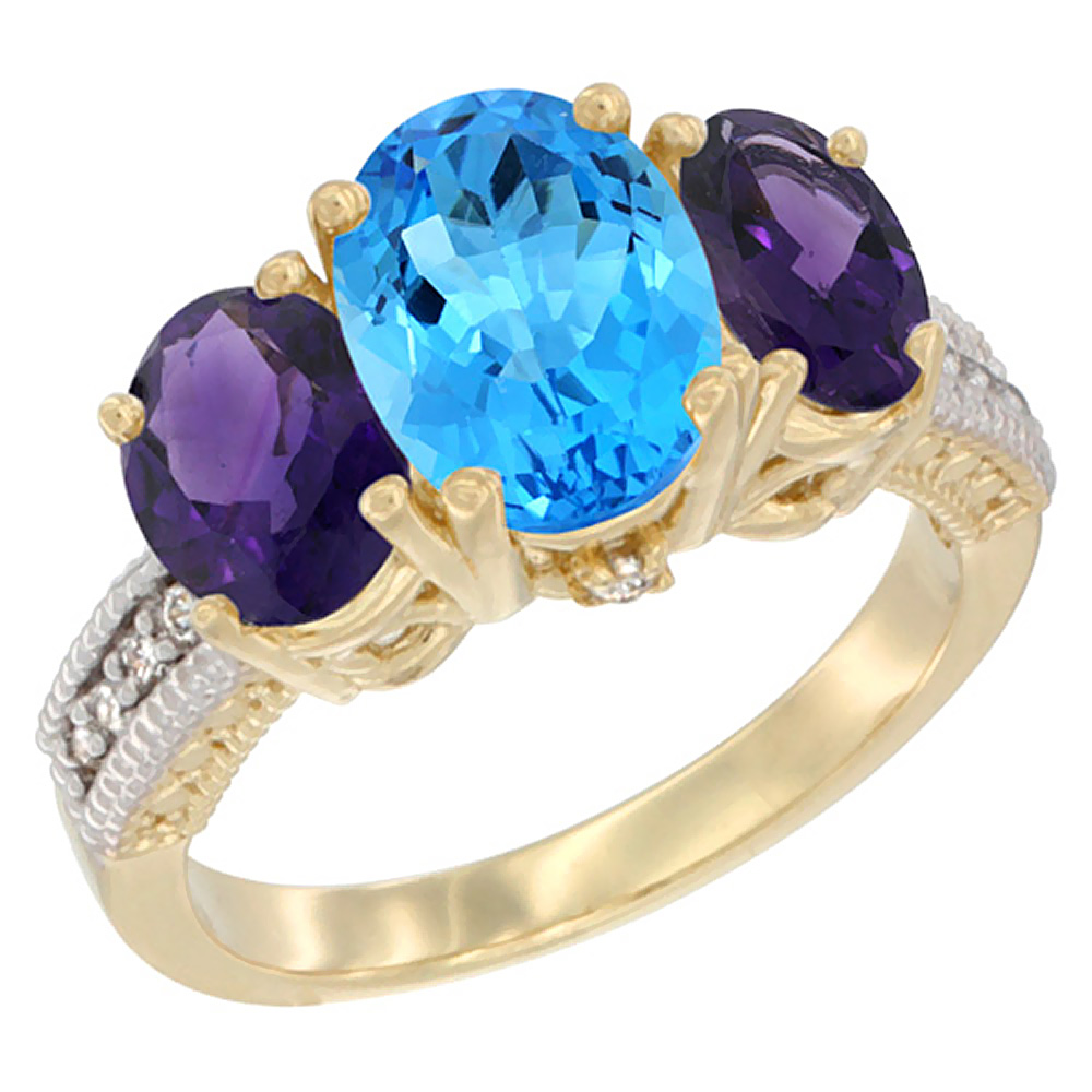 10K Yellow Gold Natural Swiss Blue Topaz Ring Ladies 3-Stone Oval 8x6mm with Amethyst Sides Diamond Accent, sizes 5 - 10