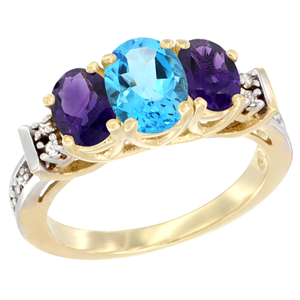 14K Yellow Gold Natural Swiss Blue Topaz & Amethyst Ring 3-Stone Oval Diamond Accent