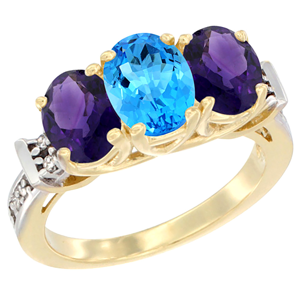 10K Yellow Gold Natural Swiss Blue Topaz & Amethyst Sides Ring 3-Stone Oval Diamond Accent, sizes 5 - 10