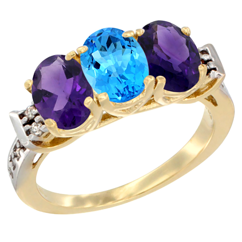 10K Yellow Gold Natural Swiss Blue Topaz & Amethyst Sides Ring 3-Stone Oval 7x5 mm Diamond Accent, sizes 5 - 10