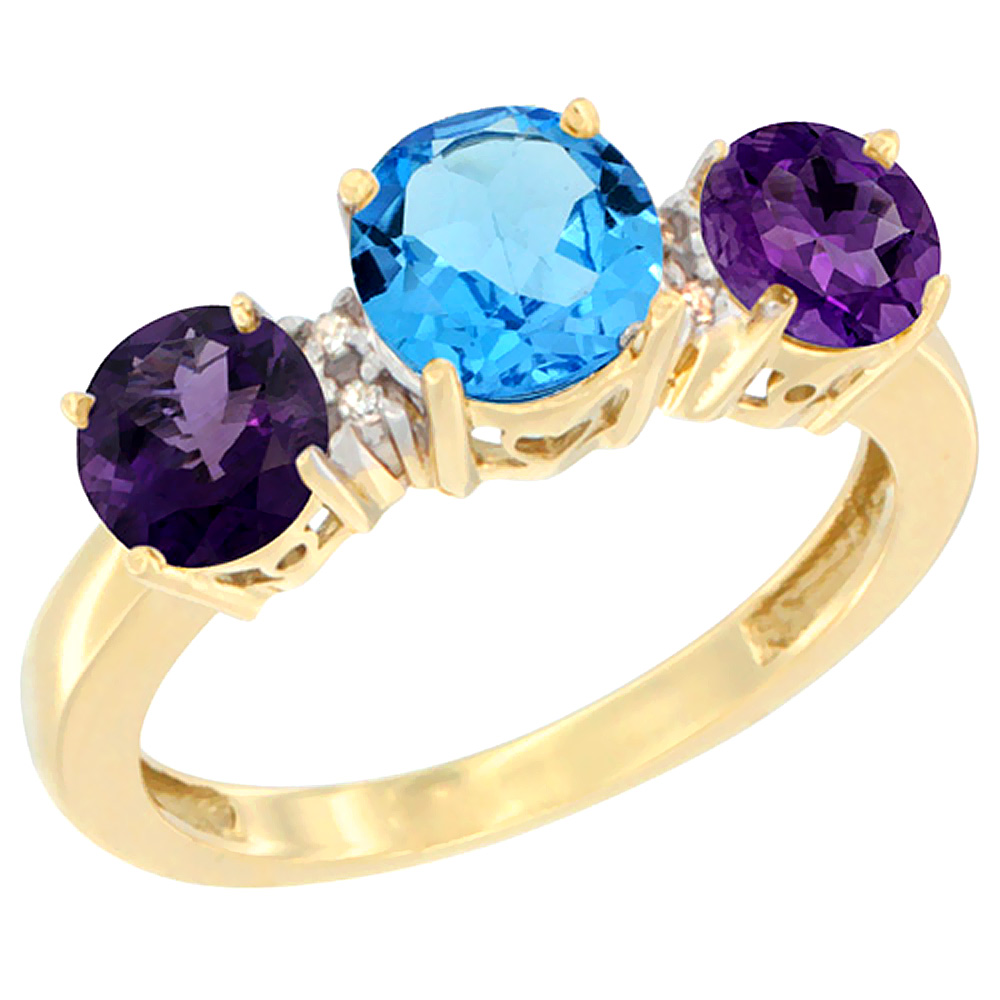 14K Yellow Gold Round 3-Stone Natural Swiss Blue Topaz Ring & Amethyst Sides Diamond Accent, sizes 5 - 10