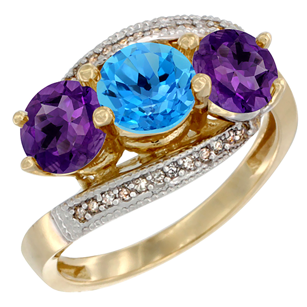 10K Yellow Gold Natural Swiss Blue Topaz & Amethyst Sides 3 stone Ring Round 6mm Diamond Accent, sizes 5 - 10