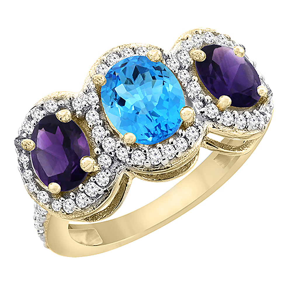 14K Yellow Gold Natural Swiss Blue Topaz & Amethyst 3-Stone Ring Oval Diamond Accent, sizes 5 - 10