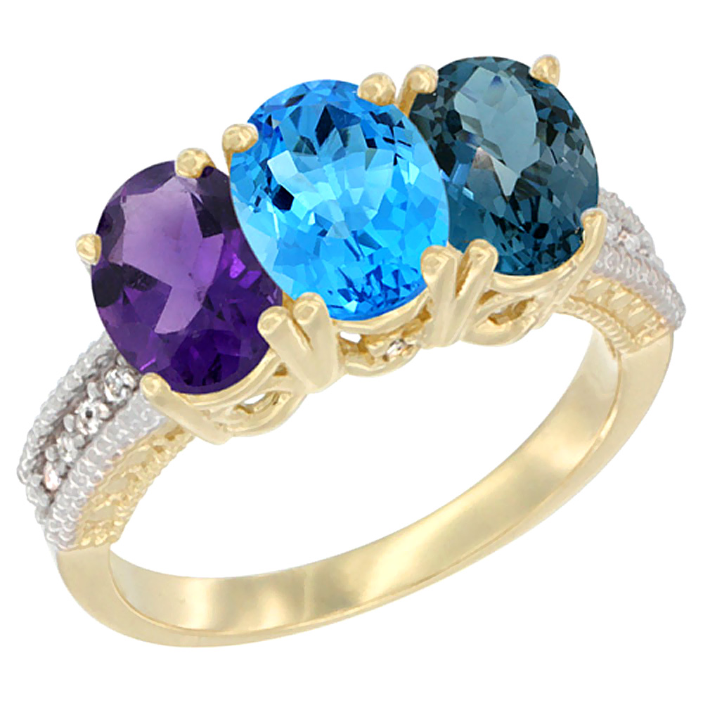 10K Yellow Gold Diamond Natural Amethyst, Swiss & London Blue Topazes Ring Oval 3-Stone 7x5 mm,sizes 5-10