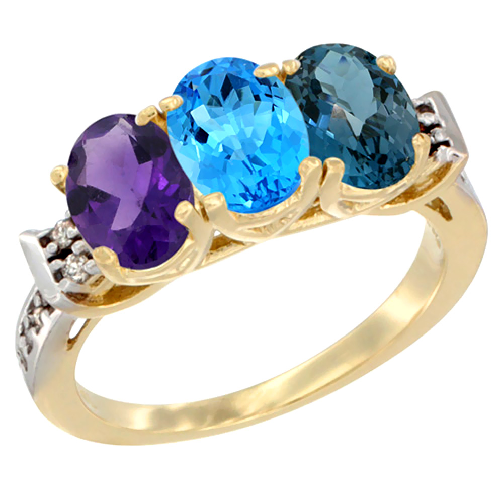 10K Yellow Gold Natural Amethyst, Swiss Blue Topaz & London Blue Topaz Ring 3-Stone Oval 7x5 mm Diamond Accent, sizes 5 - 10