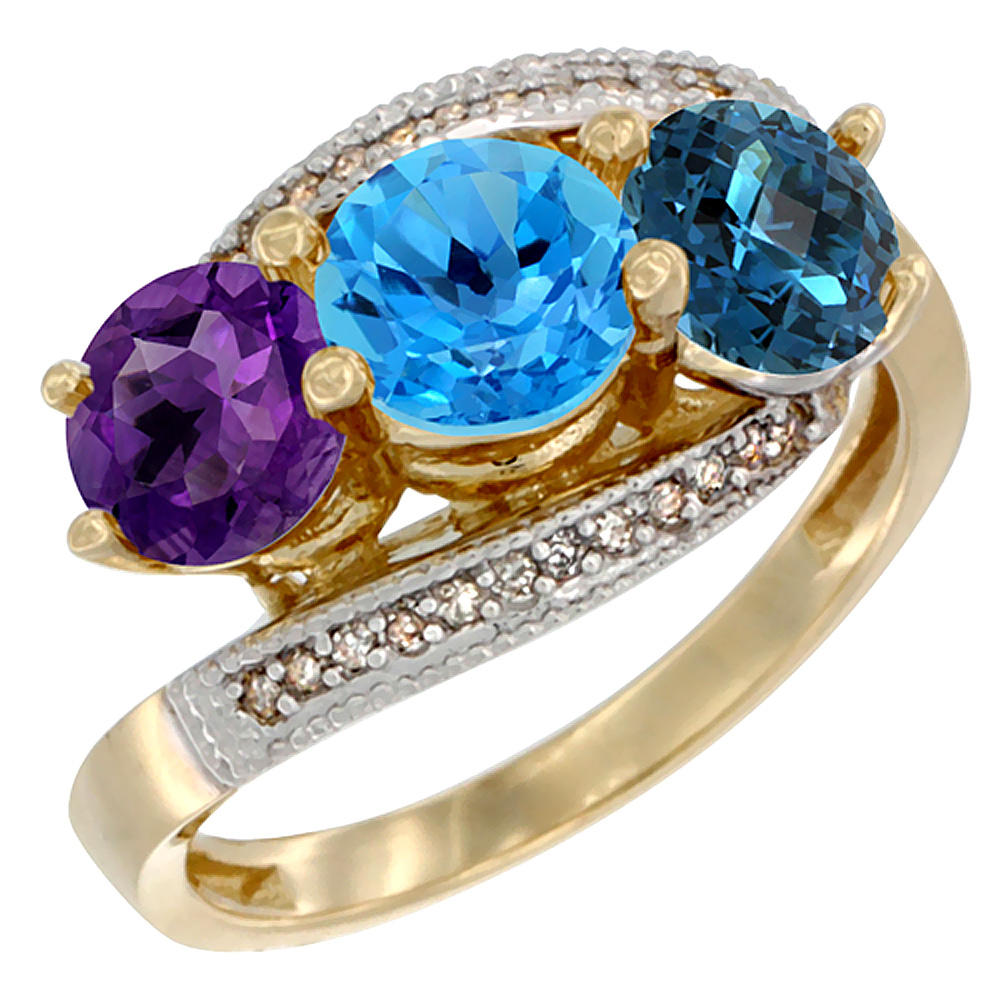 14K Yellow Gold Natural Amethyst, Swiss & London Blue Topaz 3 stone Ring Round 6mm Diamond Accent, sizes 5 - 10