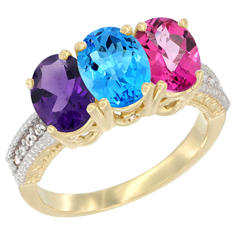 10K Yellow Gold Diamond Natural Amethyst, Swiss Blue Topaz & Pink Topaz Ring Oval 3-Stone 7x5 mm,sizes 5-10