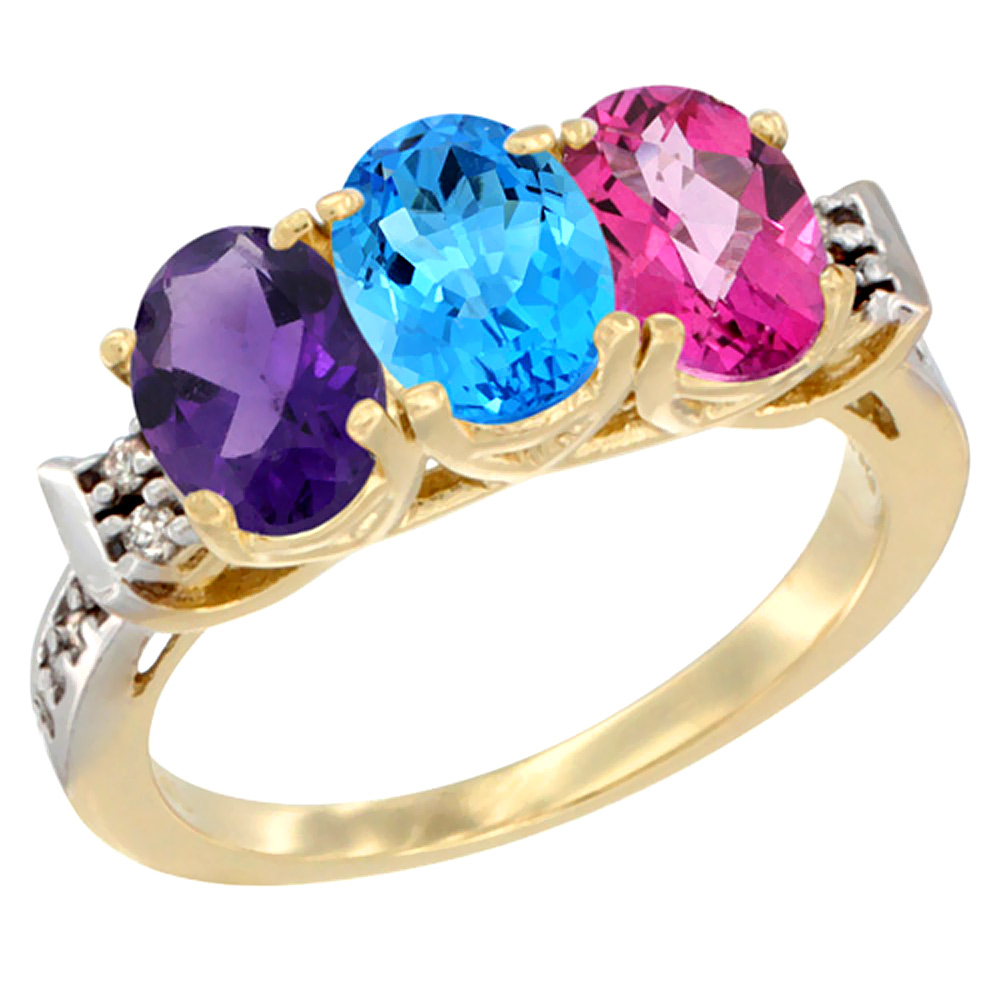 10K Yellow Gold Natural Amethyst, Swiss Blue Topaz & Pink Topaz Ring 3-Stone Oval 7x5 mm Diamond Accent, sizes 5 - 10
