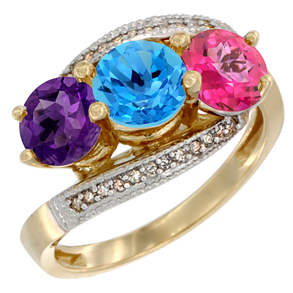 10K Yellow Gold Natural Amethyst, Swiss Blue & Pink Topaz 3 stone Ring Round 6mm Diamond Accent, sizes 5 - 10