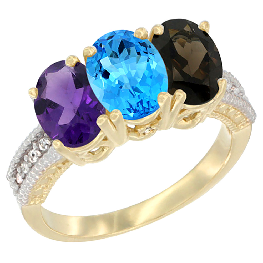 10K Yellow Gold Diamond Natural Amethyst, Swiss Blue Topaz & Smoky Topaz Ring Oval 3-Stone 7x5 mm,sizes 5-10
