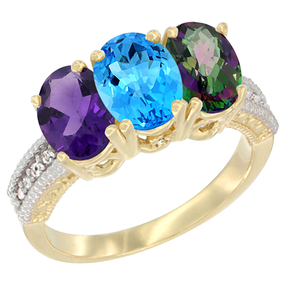 10K Yellow Gold Diamond Natural Amethyst, Swiss Blue Topaz & Mystic Topaz Ring Oval 3-Stone 7x5 mm,sizes 5-10