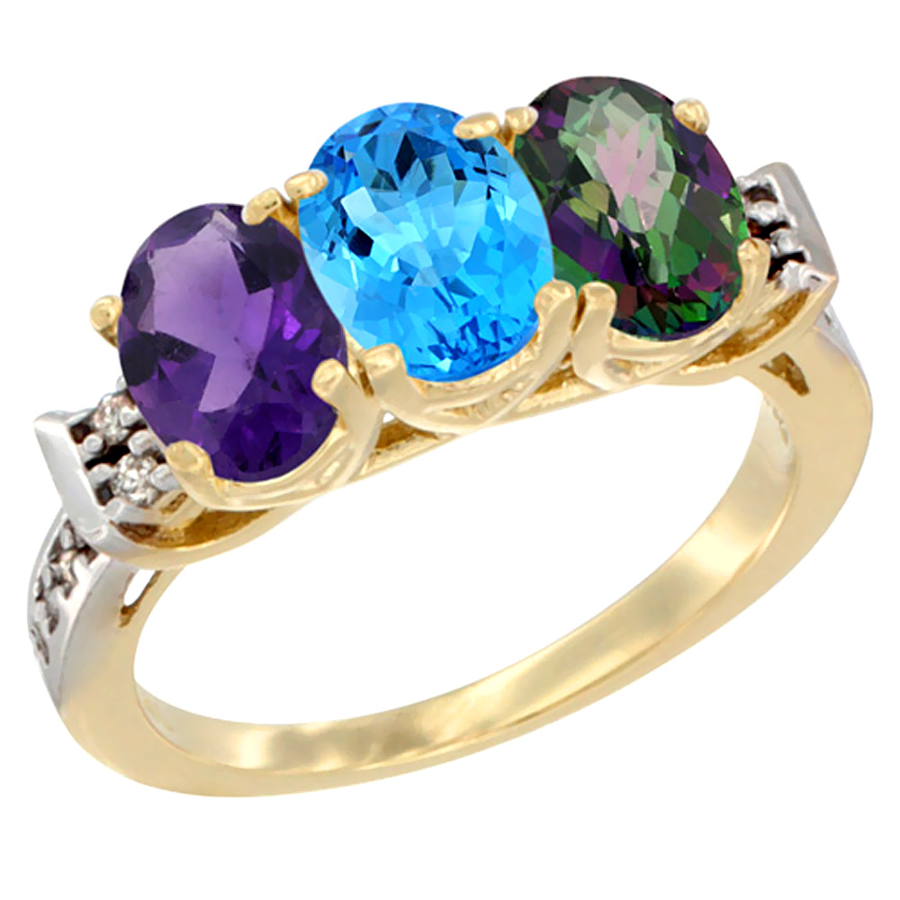 14K Yellow Gold Natural Amethyst, Swiss Blue Topaz & Mystic Topaz Ring 3-Stone 7x5 mm Oval Diamond Accent, sizes 5 - 10