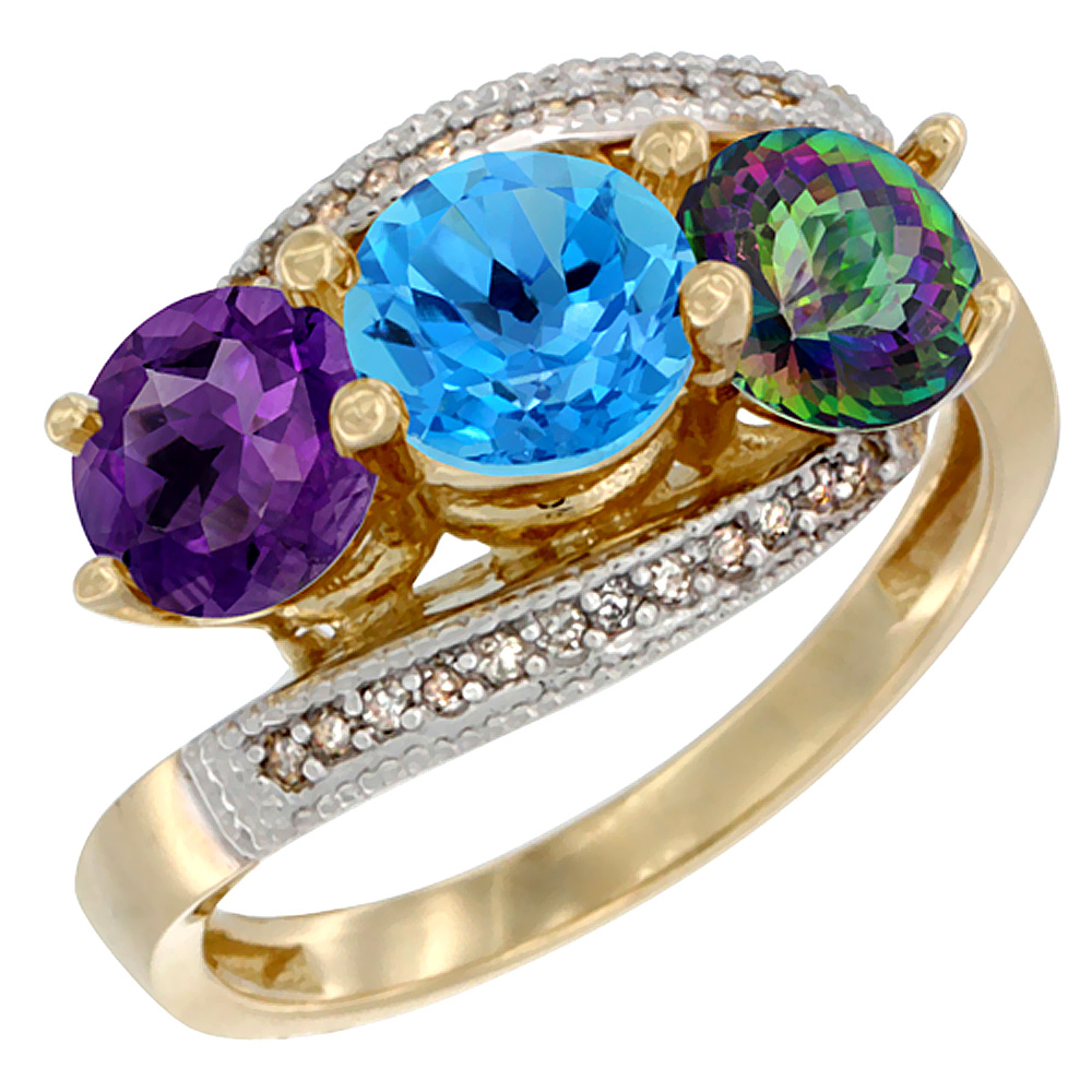 10K Yellow Gold Natural Amethyst, Swiss Blue & Mystic Topaz 3 stone Ring Round 6mm Diamond Accent, sizes 5 - 10