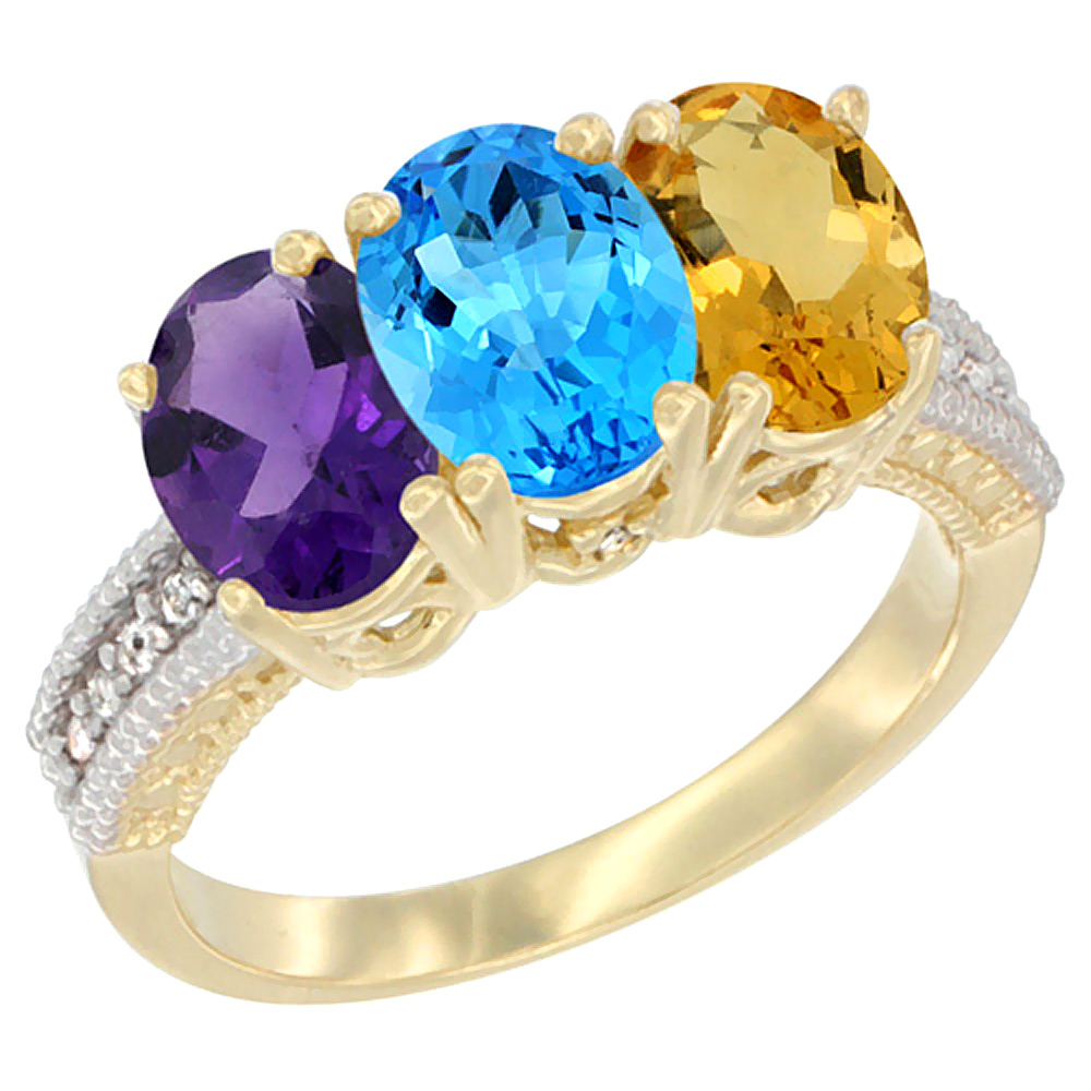 10K Yellow Gold Diamond Natural Amethyst, Swiss Blue Topaz & Citrine Ring Oval 3-Stone 7x5 mm,sizes 5-10