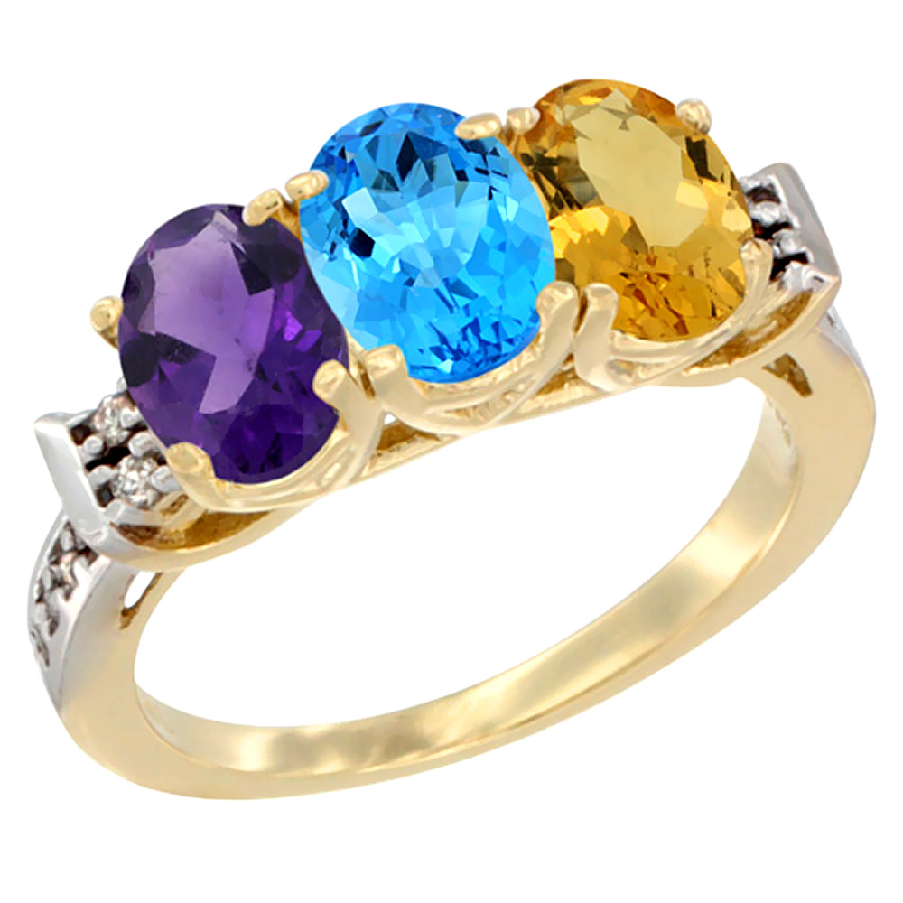 10K Yellow Gold Natural Amethyst, Swiss Blue Topaz & Citrine Ring 3-Stone Oval 7x5 mm Diamond Accent, sizes 5 - 10