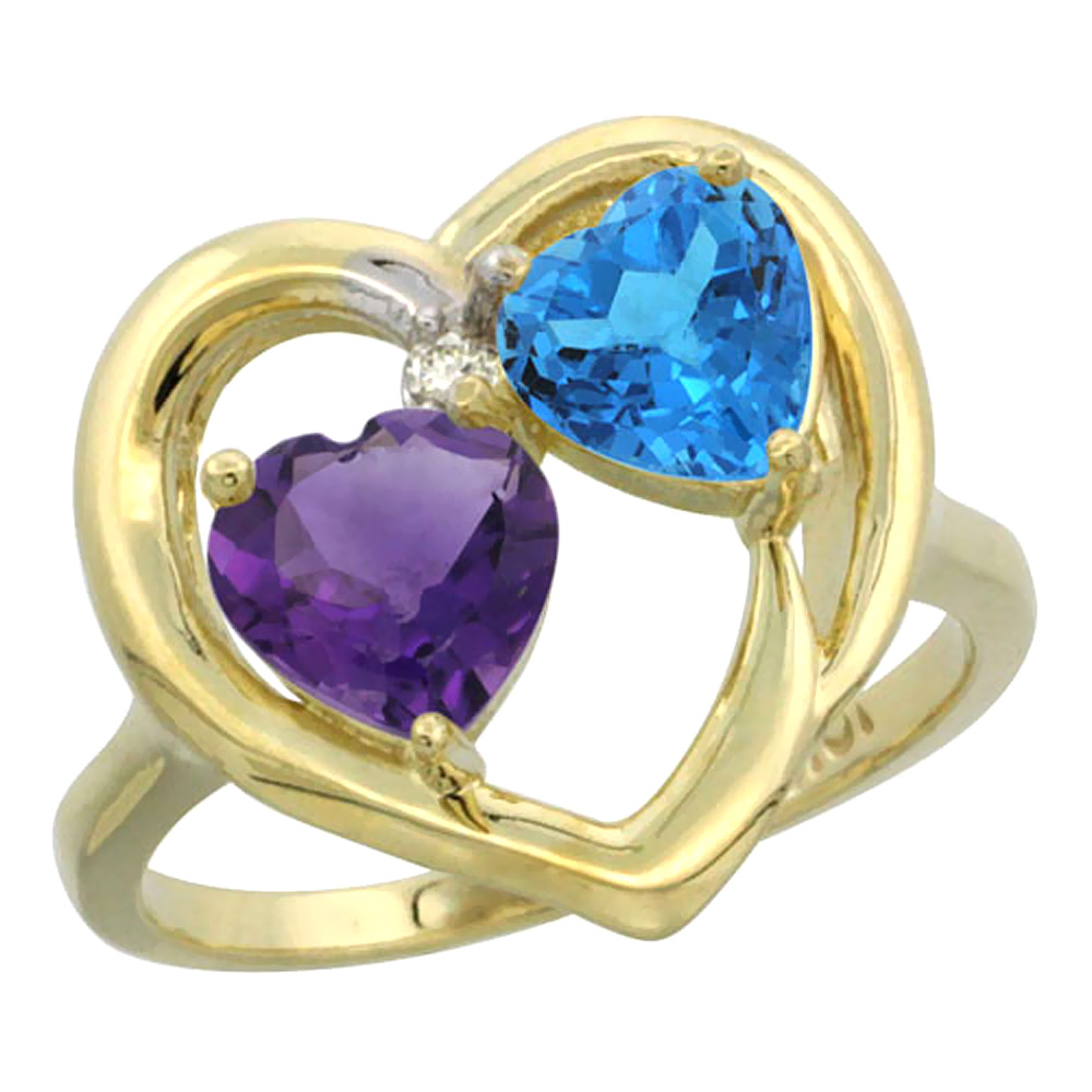 14K Yellow Gold Diamond Two-stone Heart Ring 6mm Natural Amethyst & Swiss Blue Topaz, sizes 5-10