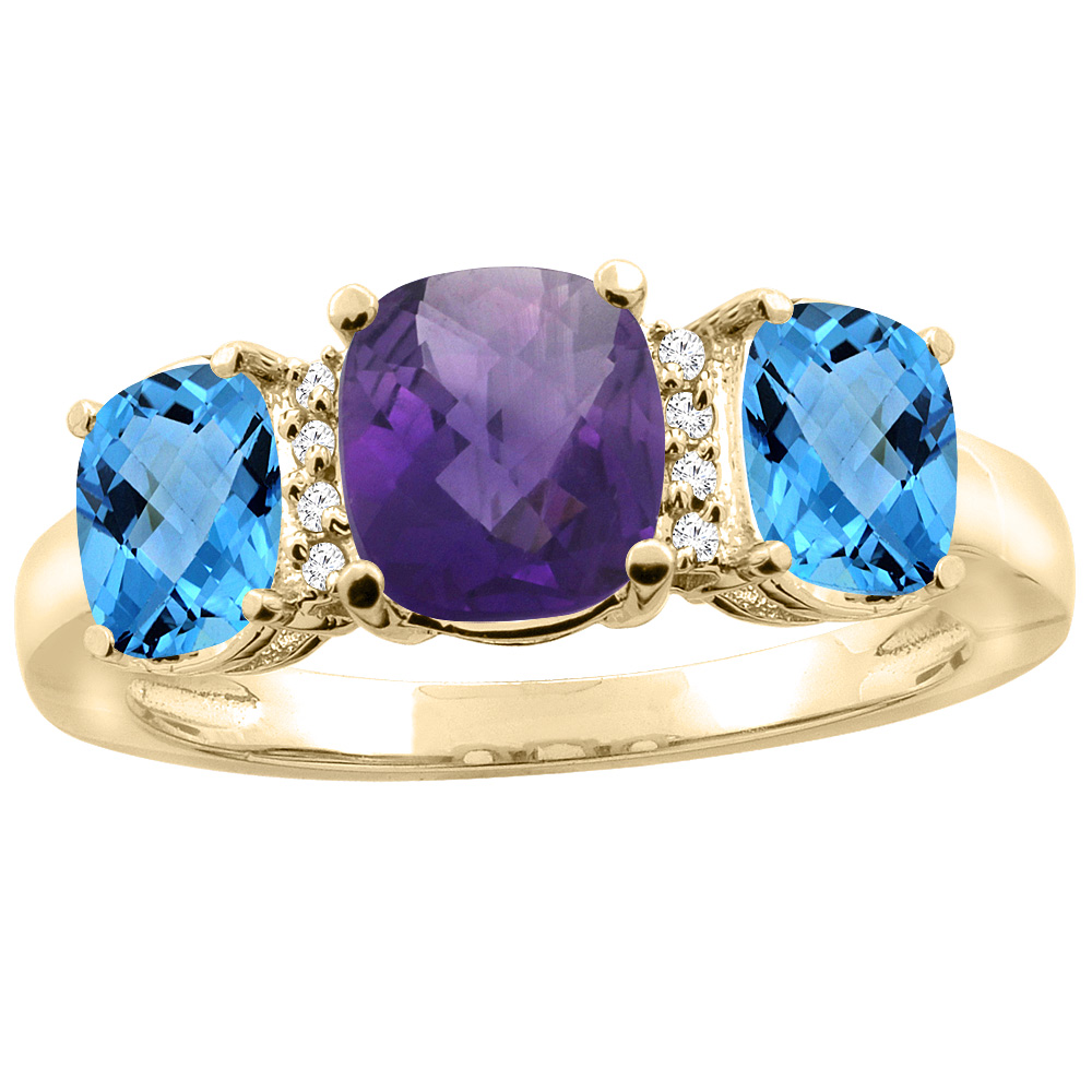 14K Yellow Gold Natural Amethyst & Swiss Blue Topaz 3-stone Ring Cushion 8x6mm Diamond Accent, sizes 5 - 10