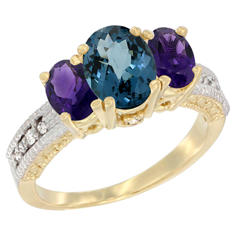 10K Yellow Gold Ladies Oval Natural London Blue Topaz Ring 3-stone with Amethyst Sides Diamond Accent