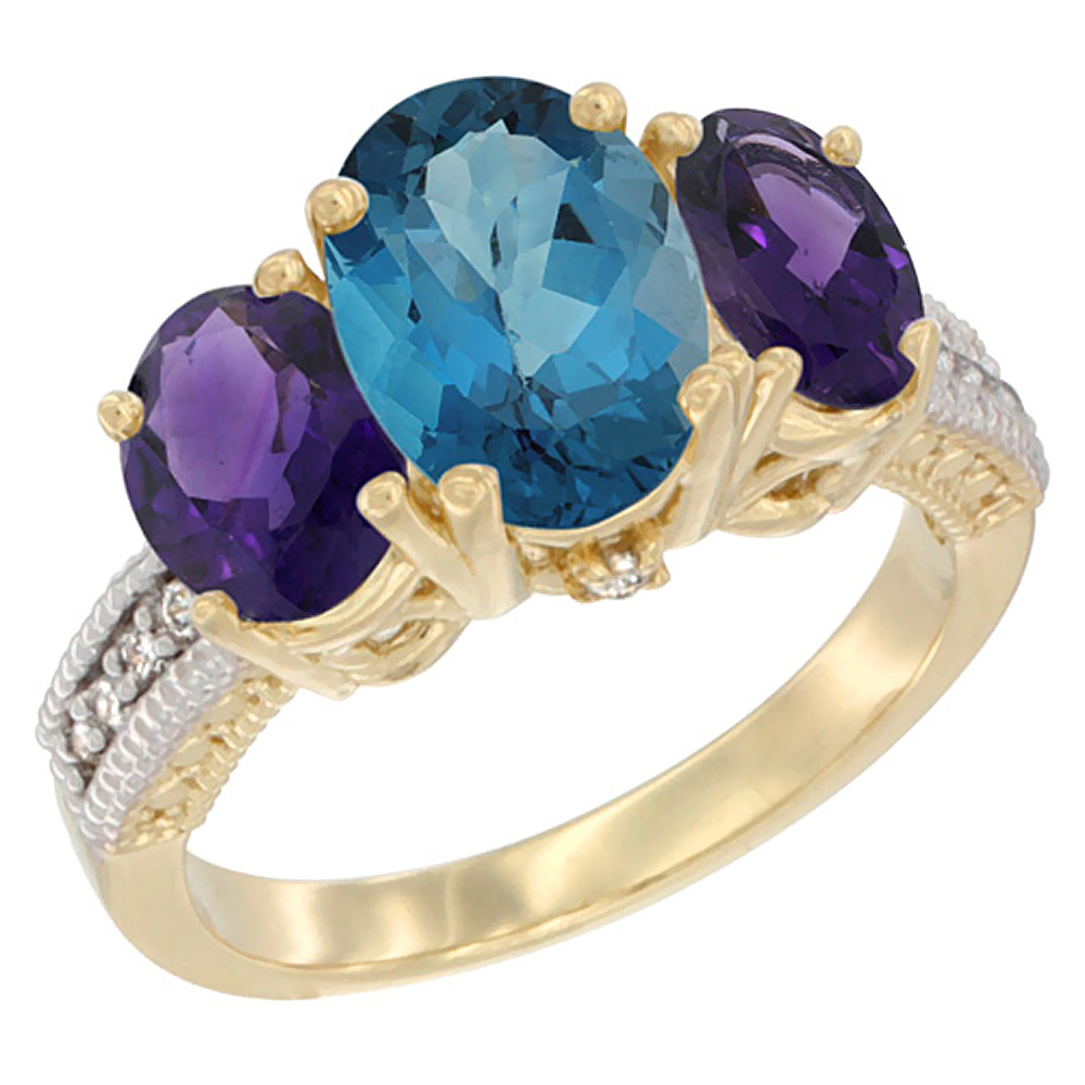 10K Yellow Gold Natural London Blue Topaz Ring Ladies 3-Stone Oval 8x6mm with Amethyst Sides Diamond Accent, sizes 5 - 10