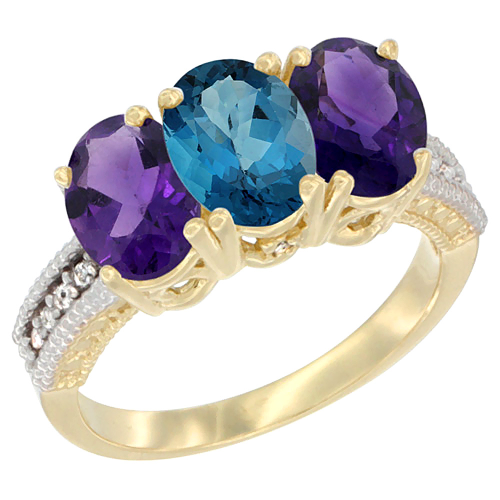 14K Yellow Gold Natural London Blue Topaz & Amethyst Ring 3-Stone 7x5 mm Oval Diamond Accent, sizes 5 - 10