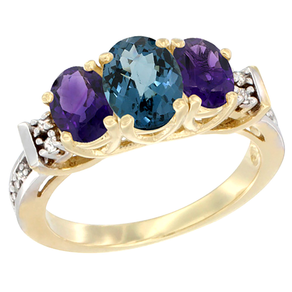 14K Yellow Gold Natural London Blue Topaz & Amethyst Ring 3-Stone Oval Diamond Accent