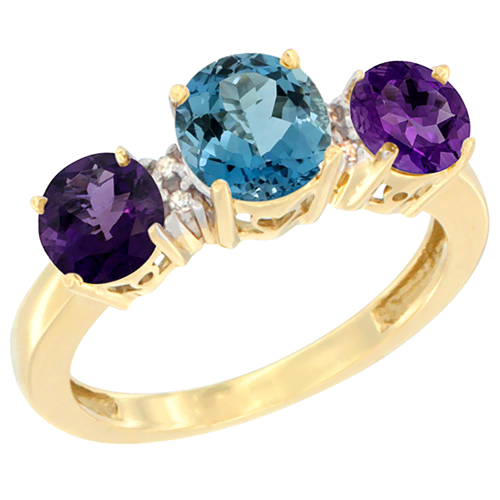 10K Yellow Gold Round 3-Stone Natural London Blue Topaz Ring & Amethyst Sides Diamond Accent, sizes 5 - 10