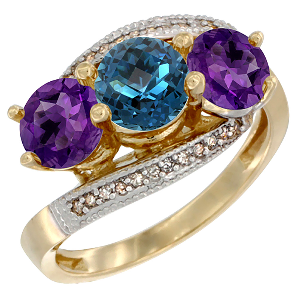 10K Yellow Gold Natural London Blue Topaz & Amethyst Sides 3 stone Ring Round 6mm Diamond Accent, sizes 5 - 10