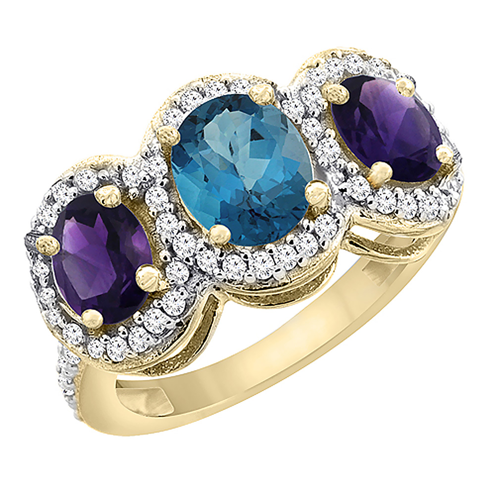 14K Yellow Gold Natural London Blue Topaz & Amethyst 3-Stone Ring Oval Diamond Accent, sizes 5 - 10