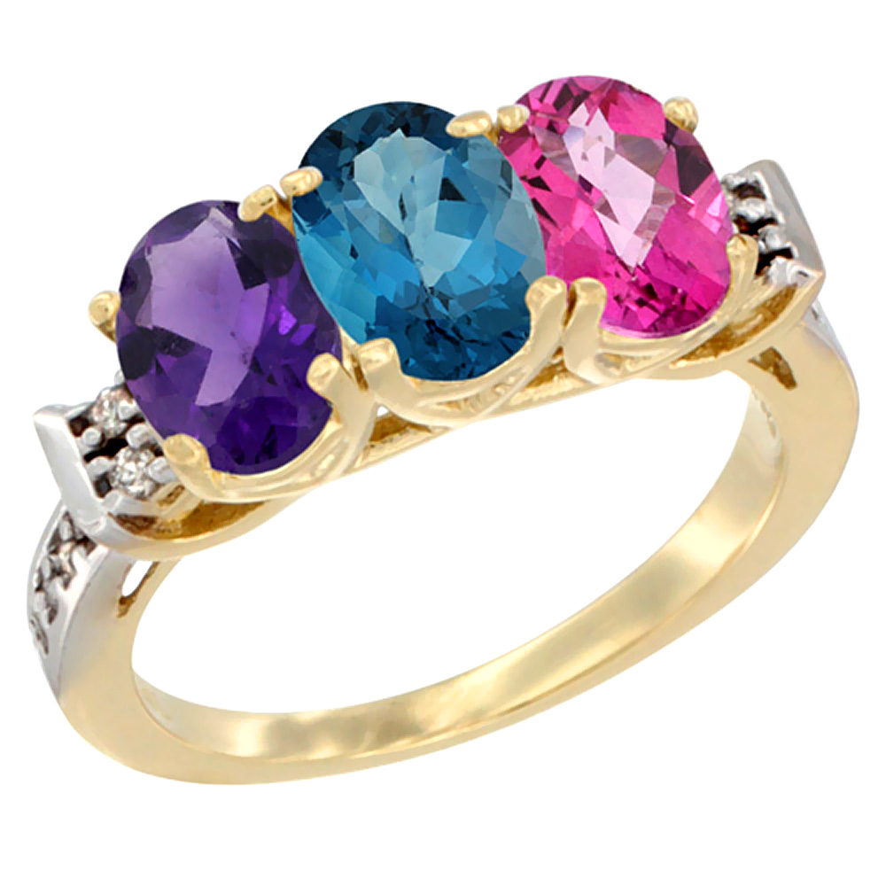 14K Yellow Gold Natural Amethyst, London Blue Topaz & Pink Topaz Ring 3-Stone 7x5 mm Oval Diamond Accent, sizes 5 - 10