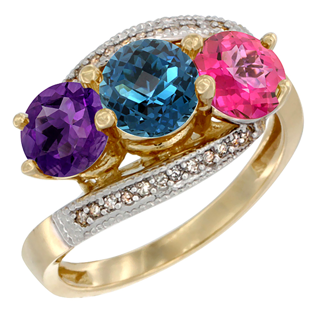10K Yellow Gold Natural Amethyst, London Blue & Pink Topaz 3 stone Ring Round 6mm Diamond Accent, sizes 5 - 10