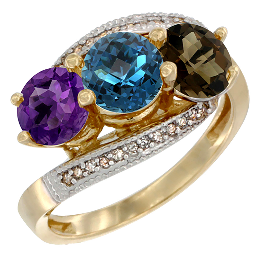 10K Yellow Gold Natural Amethyst, London Blue & Smoky Topaz 3 stone Ring Round 6mm Diamond Accent, sizes 5 - 10