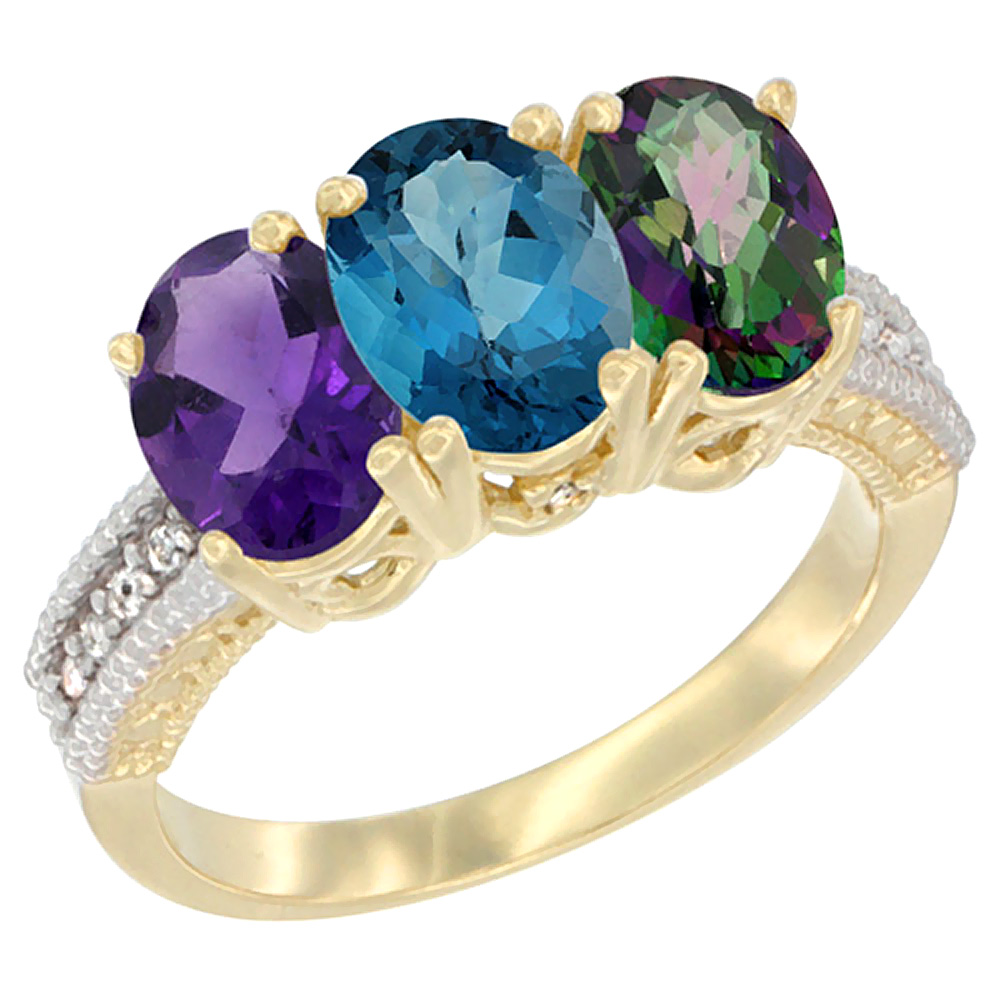 10K Yellow Gold Diamond Natural Amethyst, London Blue Topaz & Mystic Topaz Ring Oval 3-Stone 7x5 mm,sizes 5-10