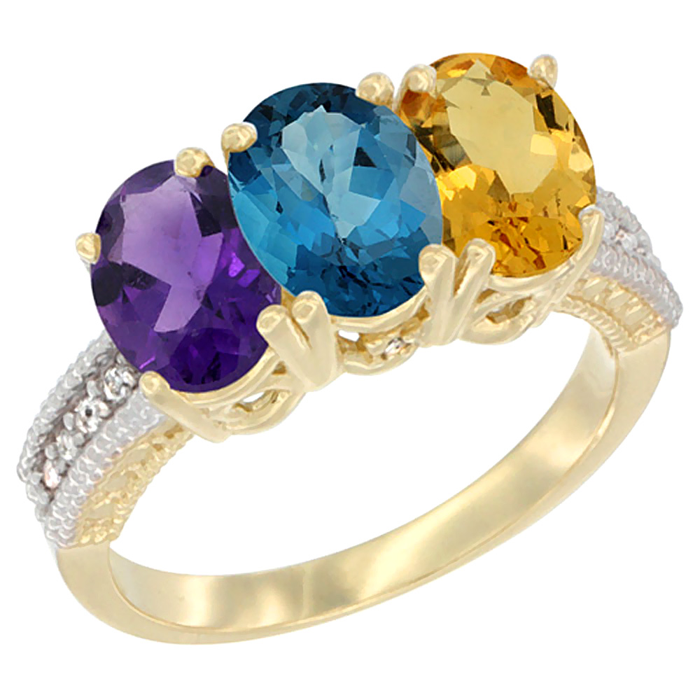 10K Yellow Gold Diamond Natural Amethyst, London Blue Topaz & Citrine Ring Oval 3-Stone 7x5 mm,sizes 5-10