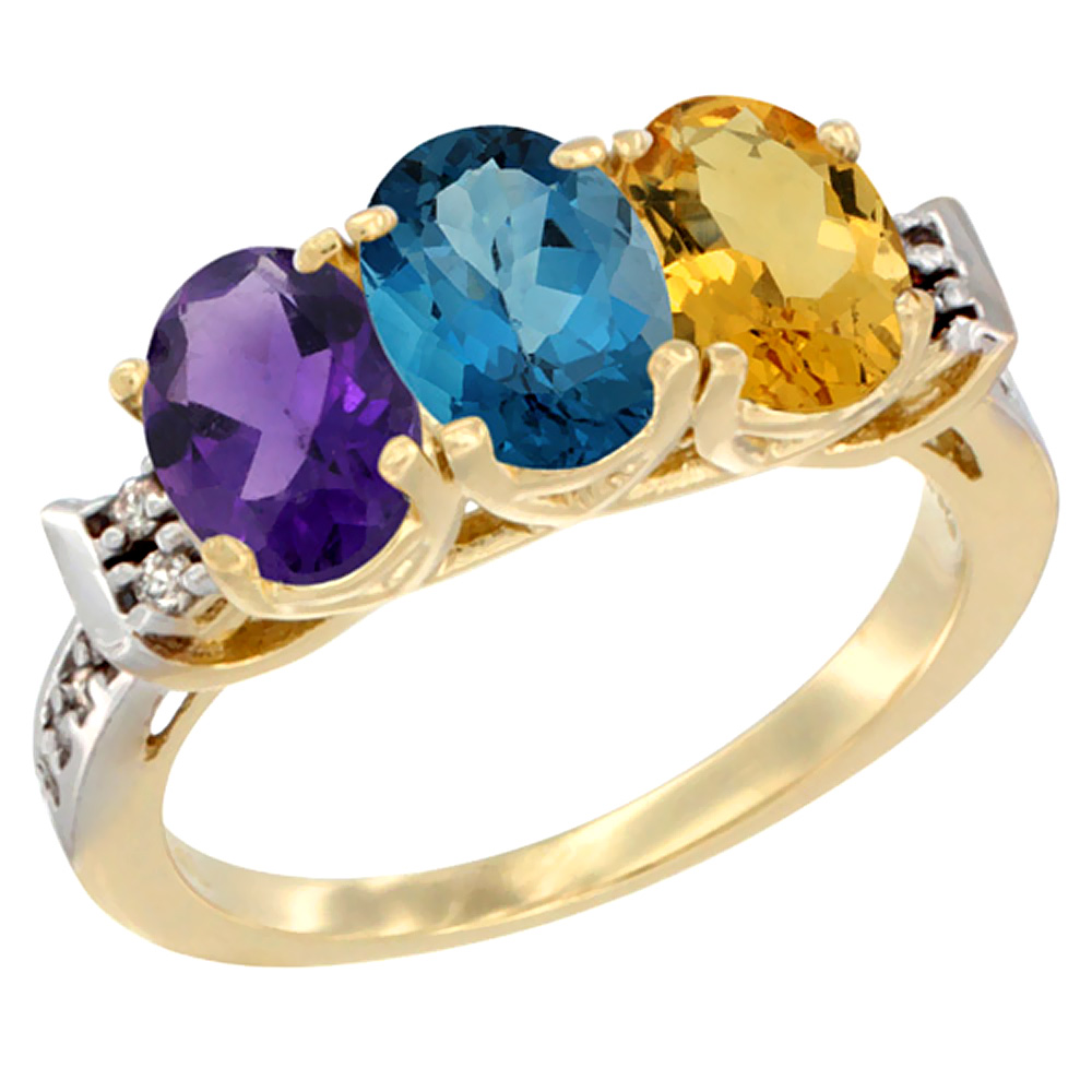 10K Yellow Gold Natural Amethyst, London Blue Topaz & Citrine Ring 3-Stone Oval 7x5 mm Diamond Accent, sizes 5 - 10