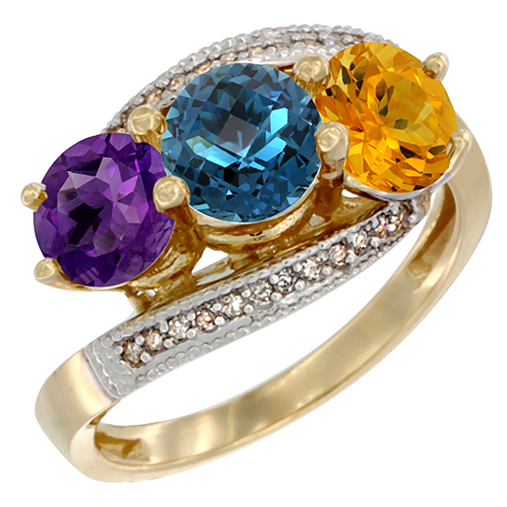 10K Yellow Gold Natural Amethyst, London Blue Topaz & Citrine 3 stone Ring Round 6mm Diamond Accent, sizes 5 - 10