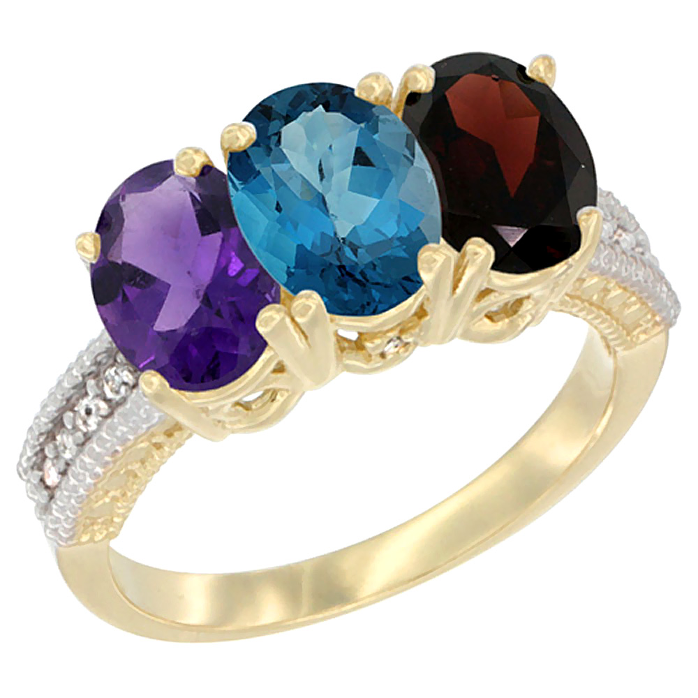 10K Yellow Gold Diamond Natural Amethyst, London Blue Topaz & Garnet Ring Oval 3-Stone 7x5 mm,sizes 5-10