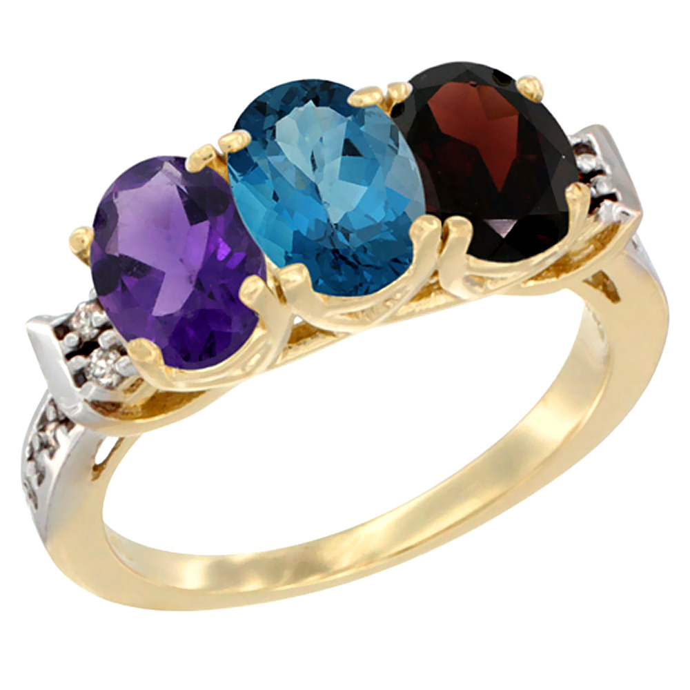 14K Yellow Gold Natural Amethyst, London Blue Topaz & Garnet Ring 3-Stone 7x5 mm Oval Diamond Accent, sizes 5 - 10