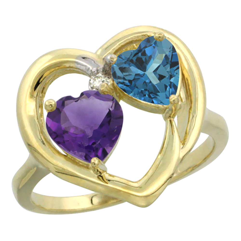 14K Yellow Gold Diamond Two-stone Heart Ring 6mm Natural Amethyst & London Blue Topaz, sizes 5-10