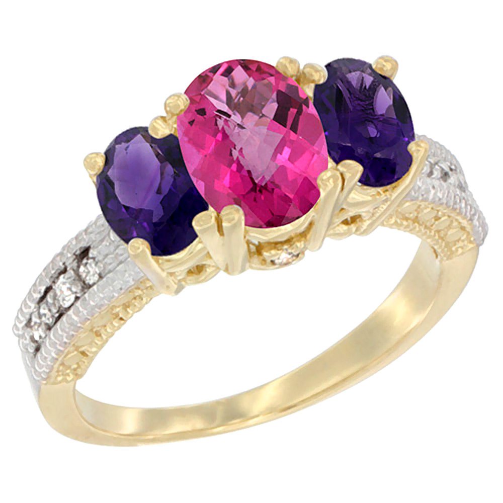 10K Yellow Gold Ladies Oval Natural Pink Topaz Ring 3-stone with Amethyst Sides Diamond Accent