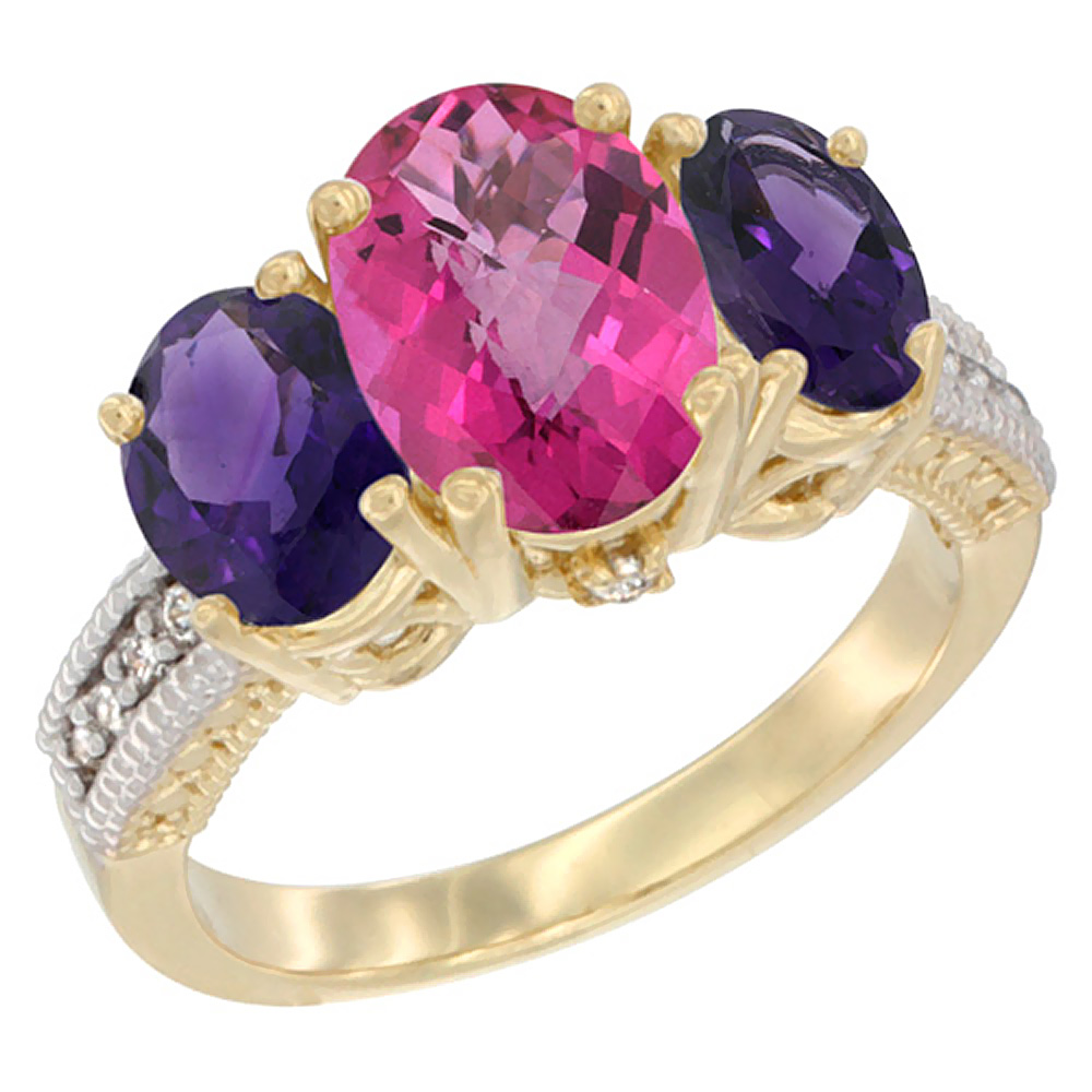 10K Yellow Gold Natural Pink Topaz Ring Ladies 3-Stone Oval 8x6mm with Amethyst Sides Diamond Accent, sizes 5 - 10