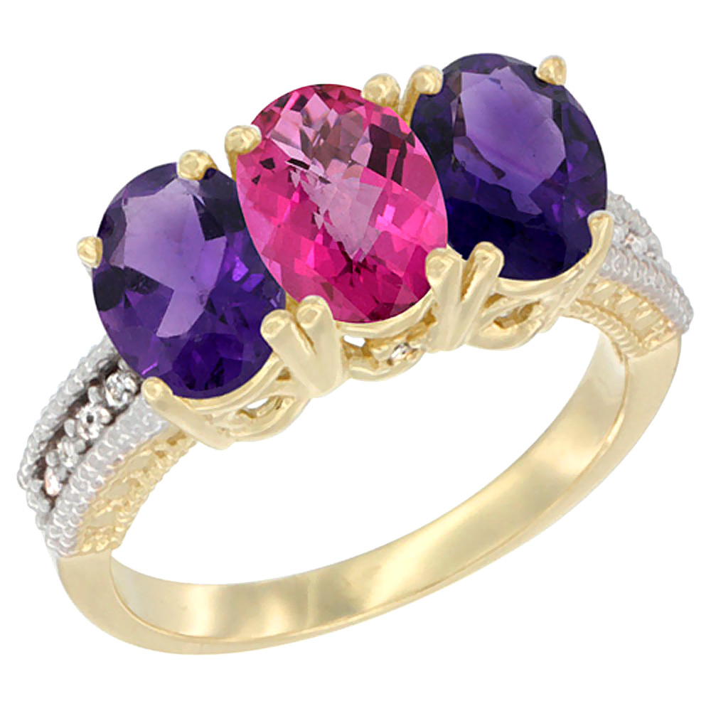 14K Yellow Gold Natural Pink Topaz & Amethyst Ring 3-Stone 7x5 mm Oval Diamond Accent, sizes 5 - 10