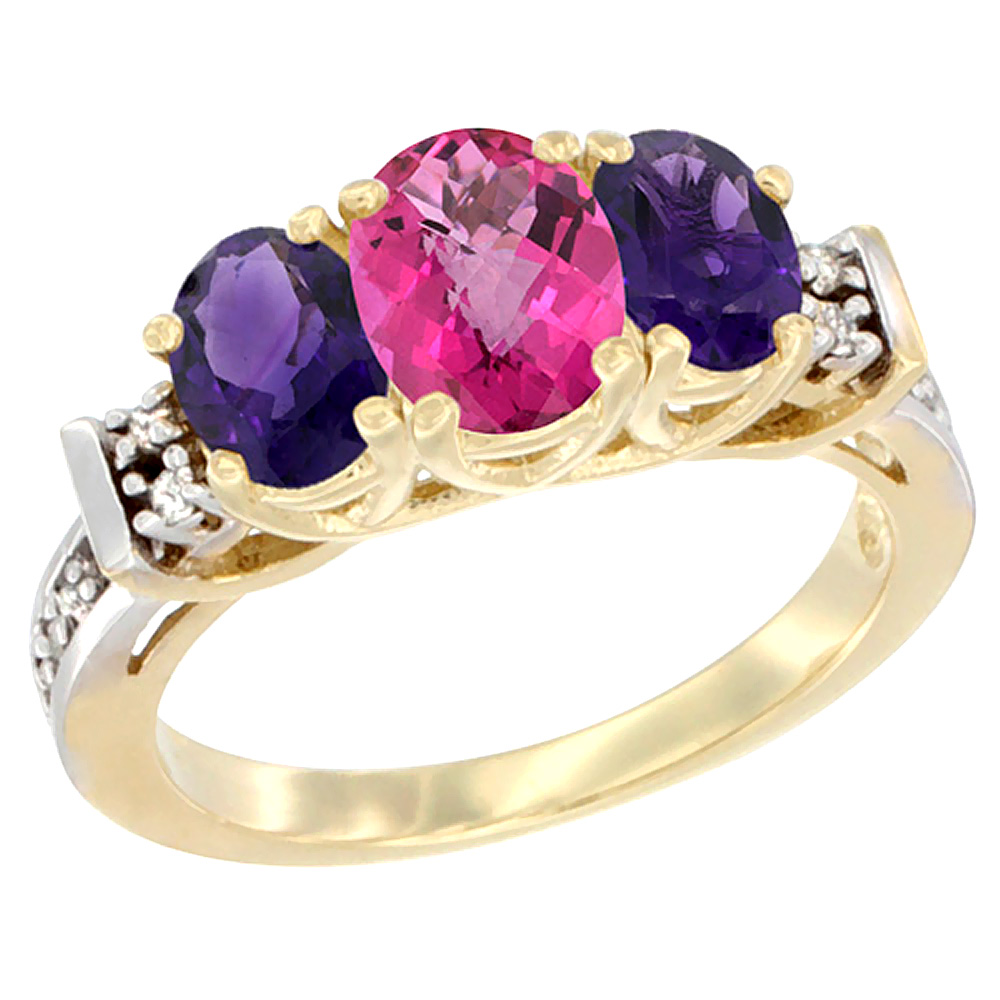 10K Yellow Gold Natural Pink Topaz & Amethyst Ring 3-Stone Oval Diamond Accent
