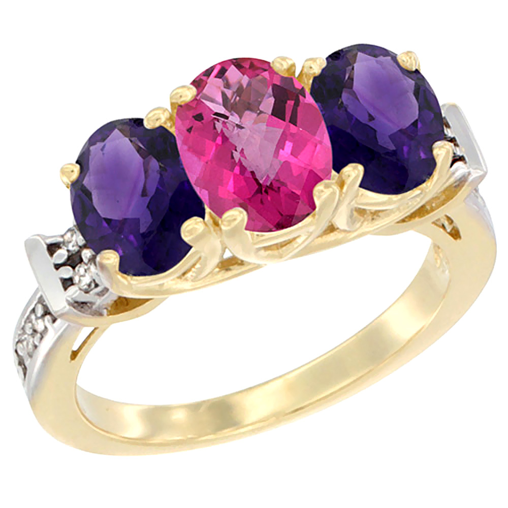 10K Yellow Gold Natural Pink Topaz & Amethyst Sides Ring 3-Stone Oval Diamond Accent, sizes 5 - 10