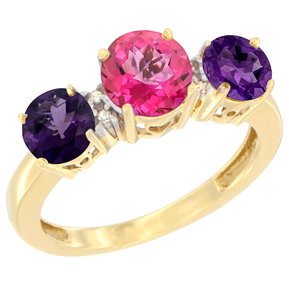 10K Yellow Gold Round 3-Stone Natural Pink Topaz Ring & Amethyst Sides Diamond Accent, sizes 5 - 10