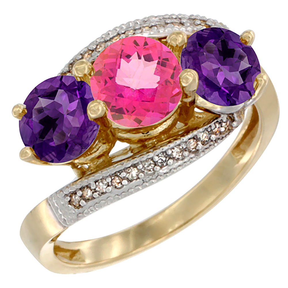 14K Yellow Gold Natural Pink Topaz & Amethyst Sides 3 stone Ring Round 6mm Diamond Accent, sizes 5 - 10