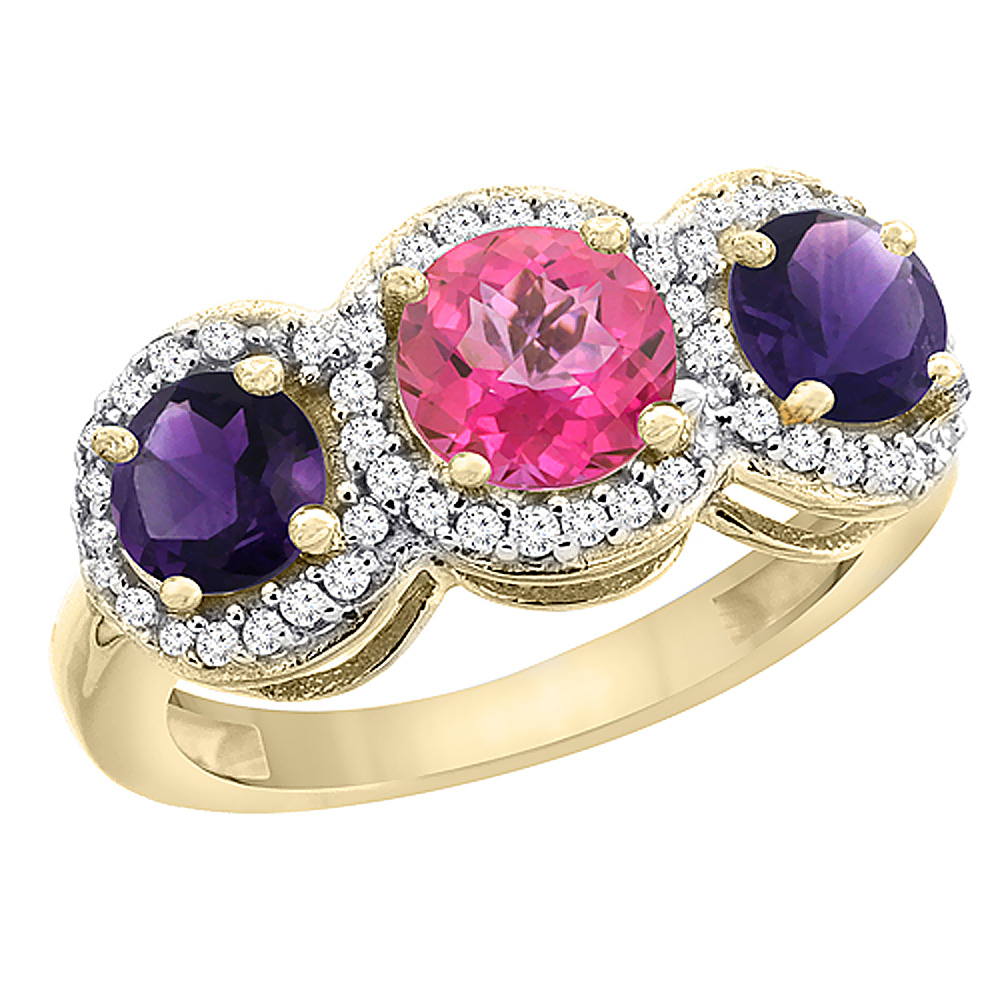 10K Yellow Gold Natural Pink Topaz & Amethyst Sides Round 3-stone Ring Diamond Accents, sizes 5 - 10