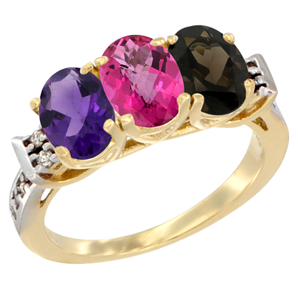 10K Yellow Gold Natural Amethyst, Pink Topaz & Smoky Topaz Ring 3-Stone Oval 7x5 mm Diamond Accent, sizes 5 - 10